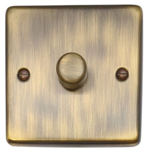 G&H CAB15 Standard Plate Antique Bronze 1 Gang 1 or 2 Way 700W Dimmer Switch Single Plate